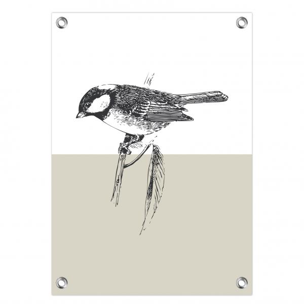 Tuinposter Bird grijs
