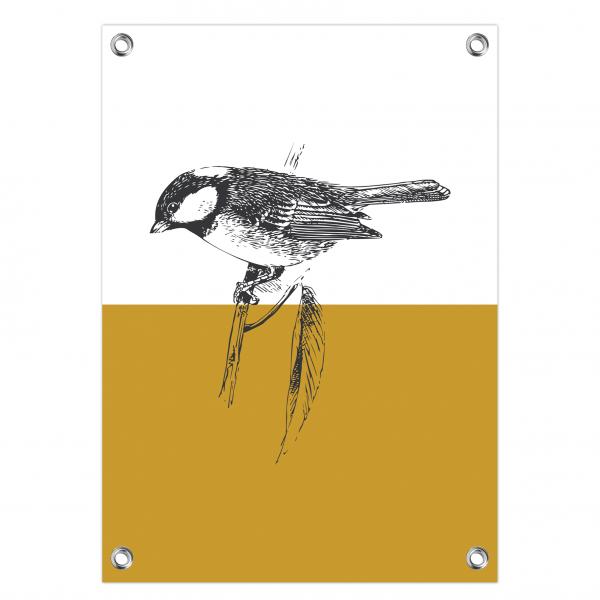 Tuinposter Bird oker