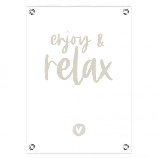 Tuinposter Enjoy and relax wit-grijs website