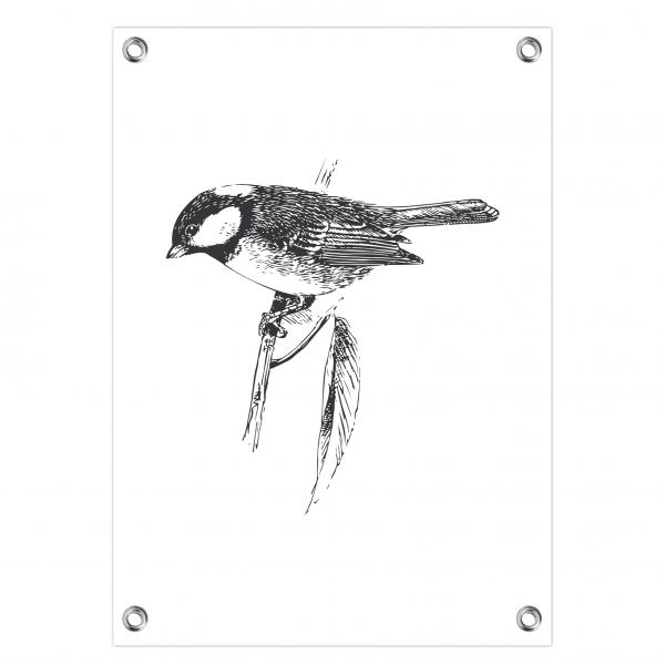 Tuinposter Bird wit