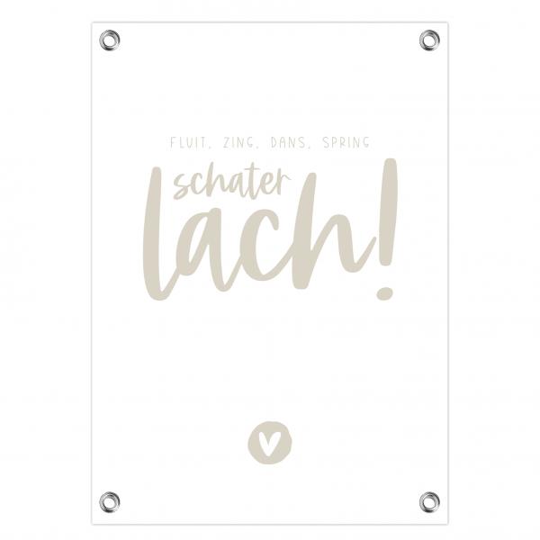Tuinposter Schaterlach grijs